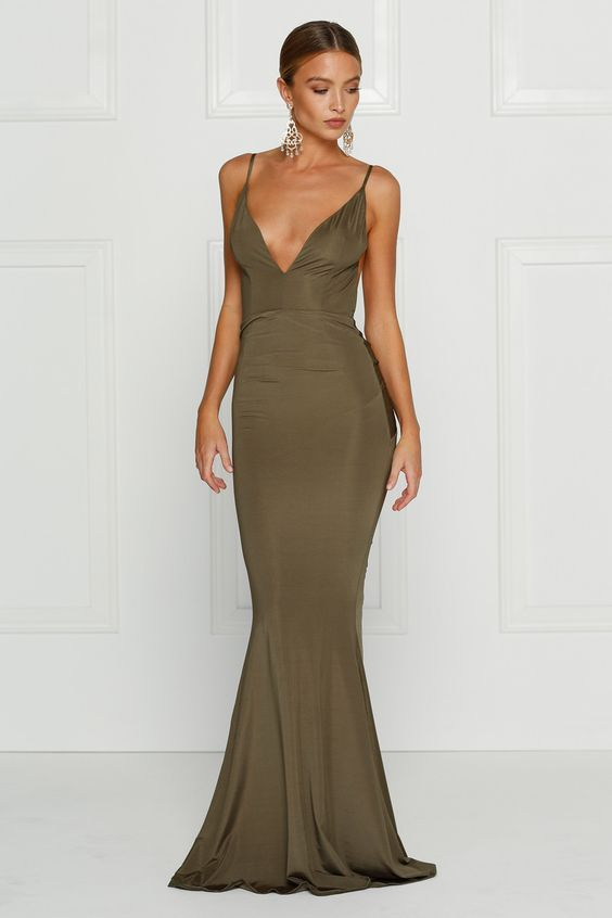 Alamour The Label - Penelope Olive Green Low Back Formal Gown Dress ...