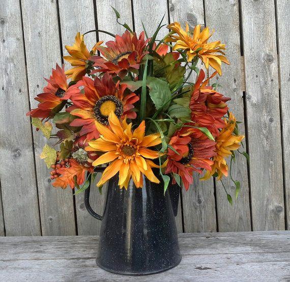Fall flower arrangement autumn silk flowers sunflowers farmhouse fall flower arrangement autumn silk flowers sunflowers by 6miles 4200 mightylinksfo Gallery