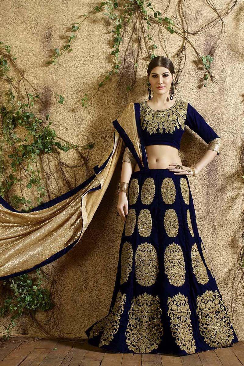 c2658746f8 Buy Navy Blue Velvet Designer Lehenga Online in low price at Variation.  Huge collection of