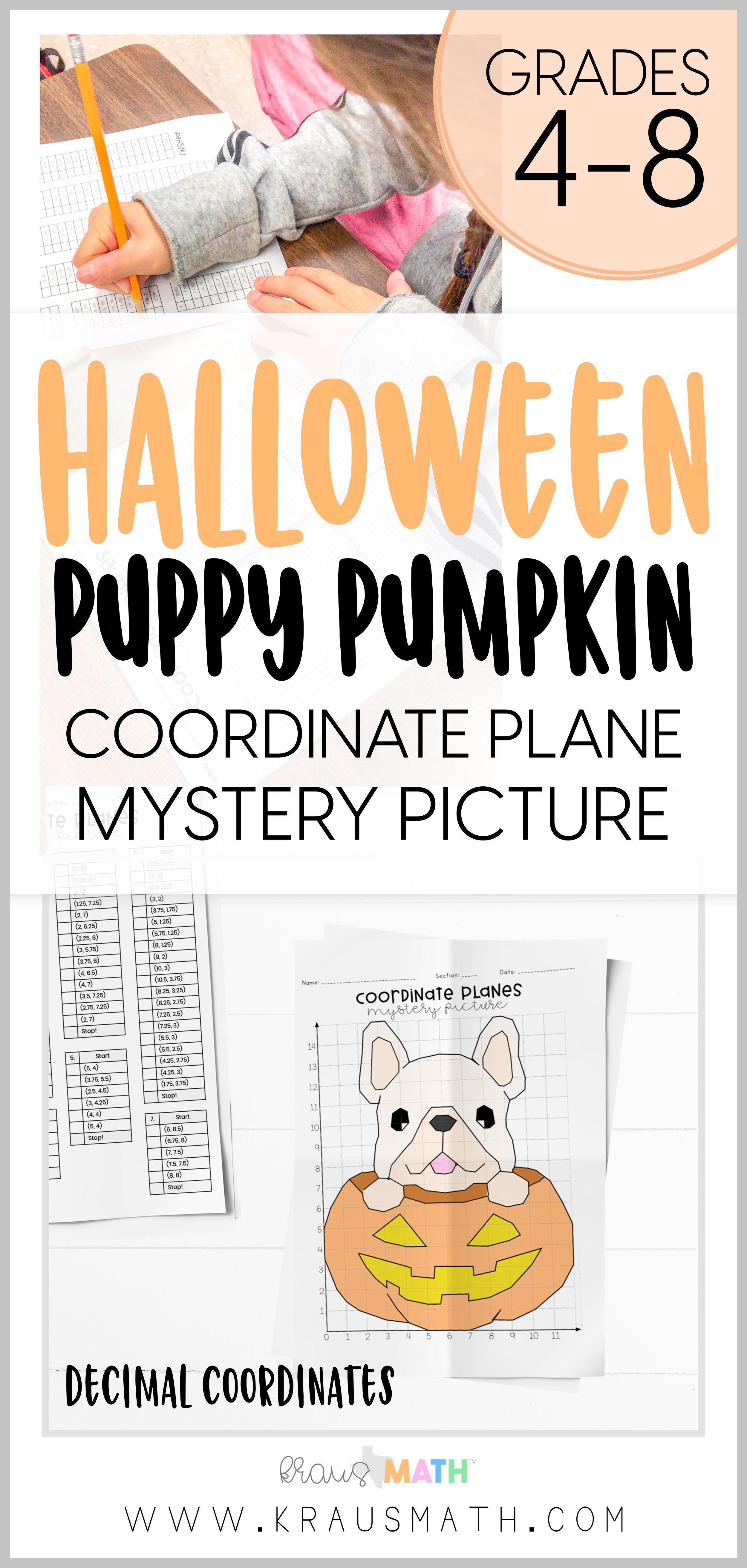 Cute Pumpkin Pug Coordinate Plane Mystery Picture 1st