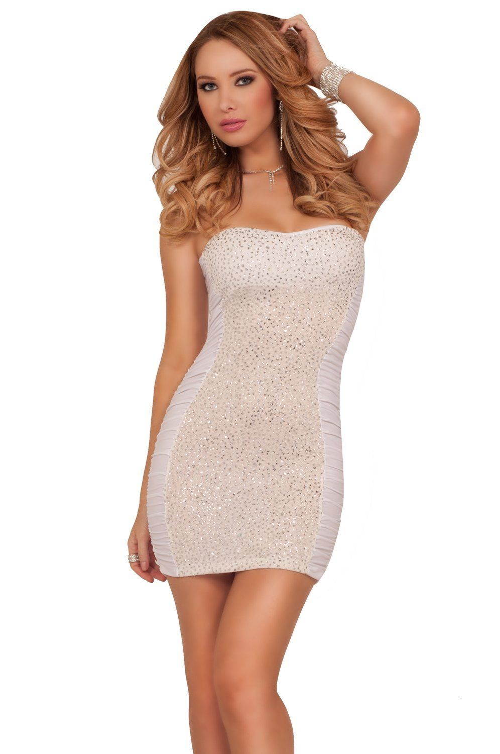 Hot from Hollywood Women\'s Strapless Glitter Sparkle Short Fitted ...