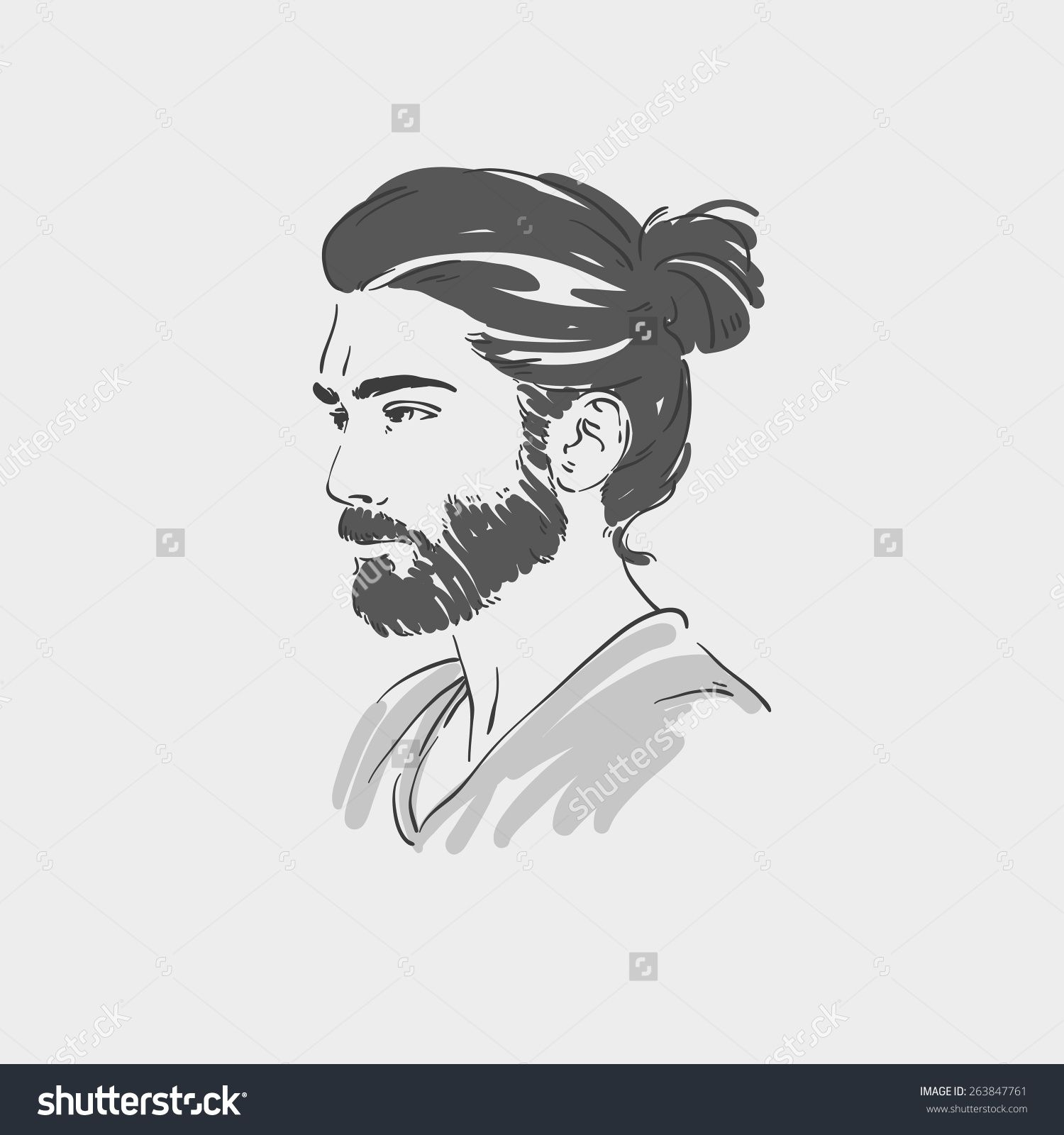 Stock Vector Handsome Young Man With Long Hair Vector Illustration 263847761 Jpg 1500 1600 Hair Vector Hair Illustration Drawing Hair Illustration