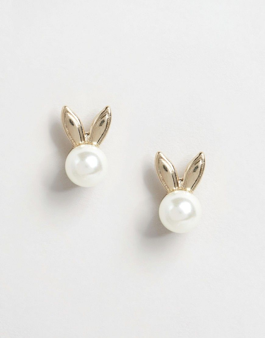 Lipsy Ariana Grande Bunny Ear Pearl Stud Earrings   Must have ...