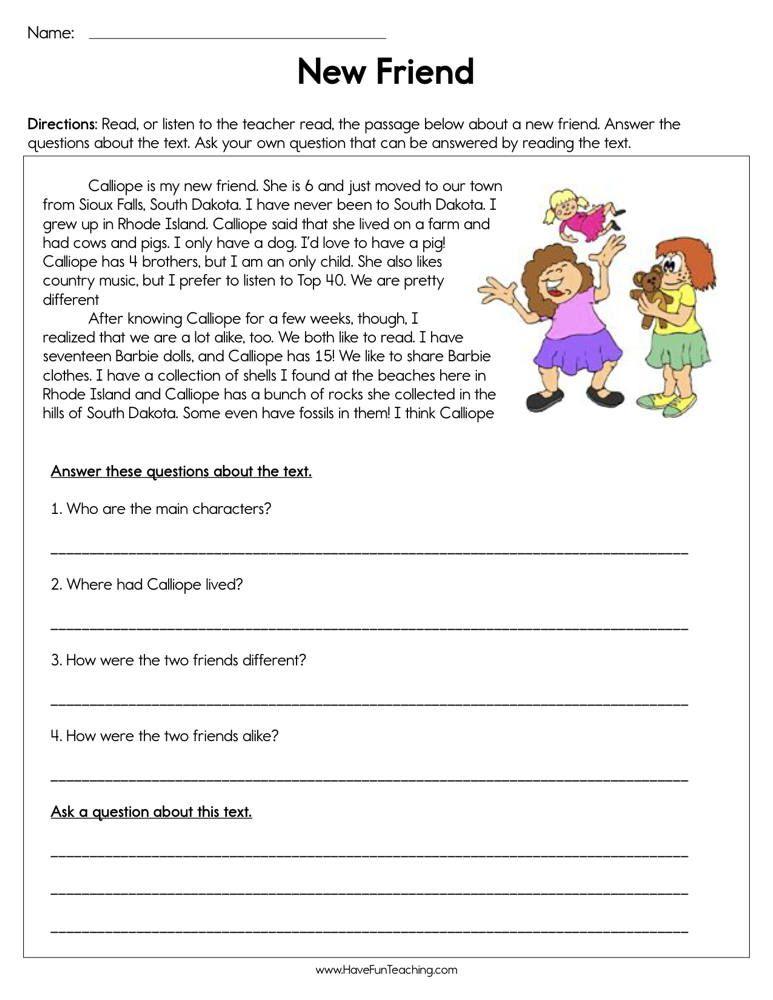 Reading Comprehension Worksheet Cooperation Reading Comprehension Reading Comprehension Skills Have Fun Teaching
