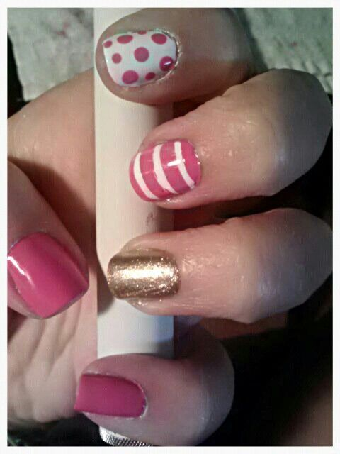pink, white, & gold... stripes & polka dots.