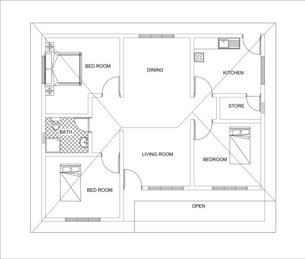 Three bed room 3D house plan with dwg cad file free