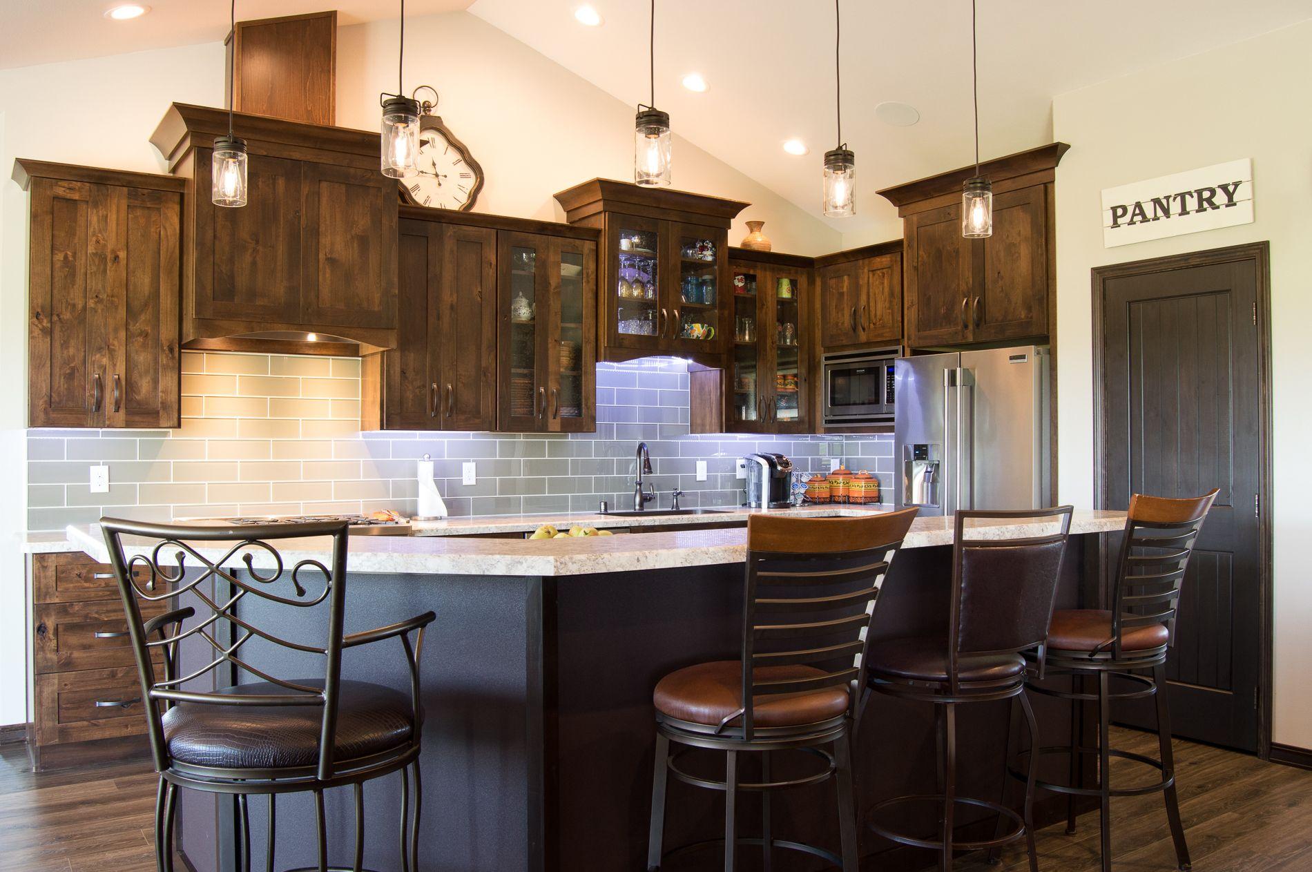 Rustic Alder Spice Kitchen Shakercabinets Fulloverlay Wilsonart Laminate Woodlandcabinetr Interior Design Kitchen Kitchen Interior Kitchen And Bath Design