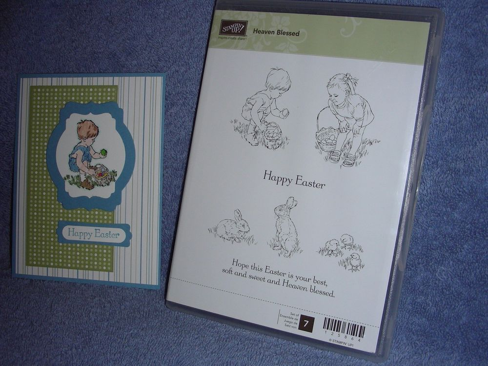 stampin up HEAVEN BLESSED-Happy Easter-bunny-boy & girl-chicks-eggs-lot + card #StampinUp