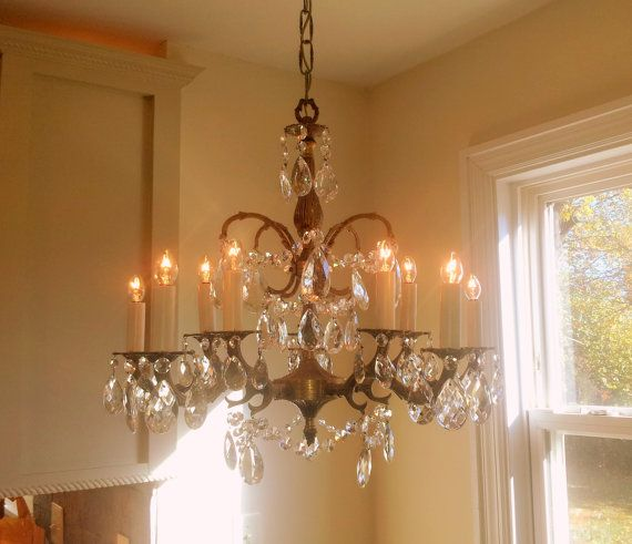 Antique Crystal Chandelier Large 5 Arm 10 by Somethingcharming - Antique Crystal Chandelier Large 5 Arm 10 Light Made In Spain Solid