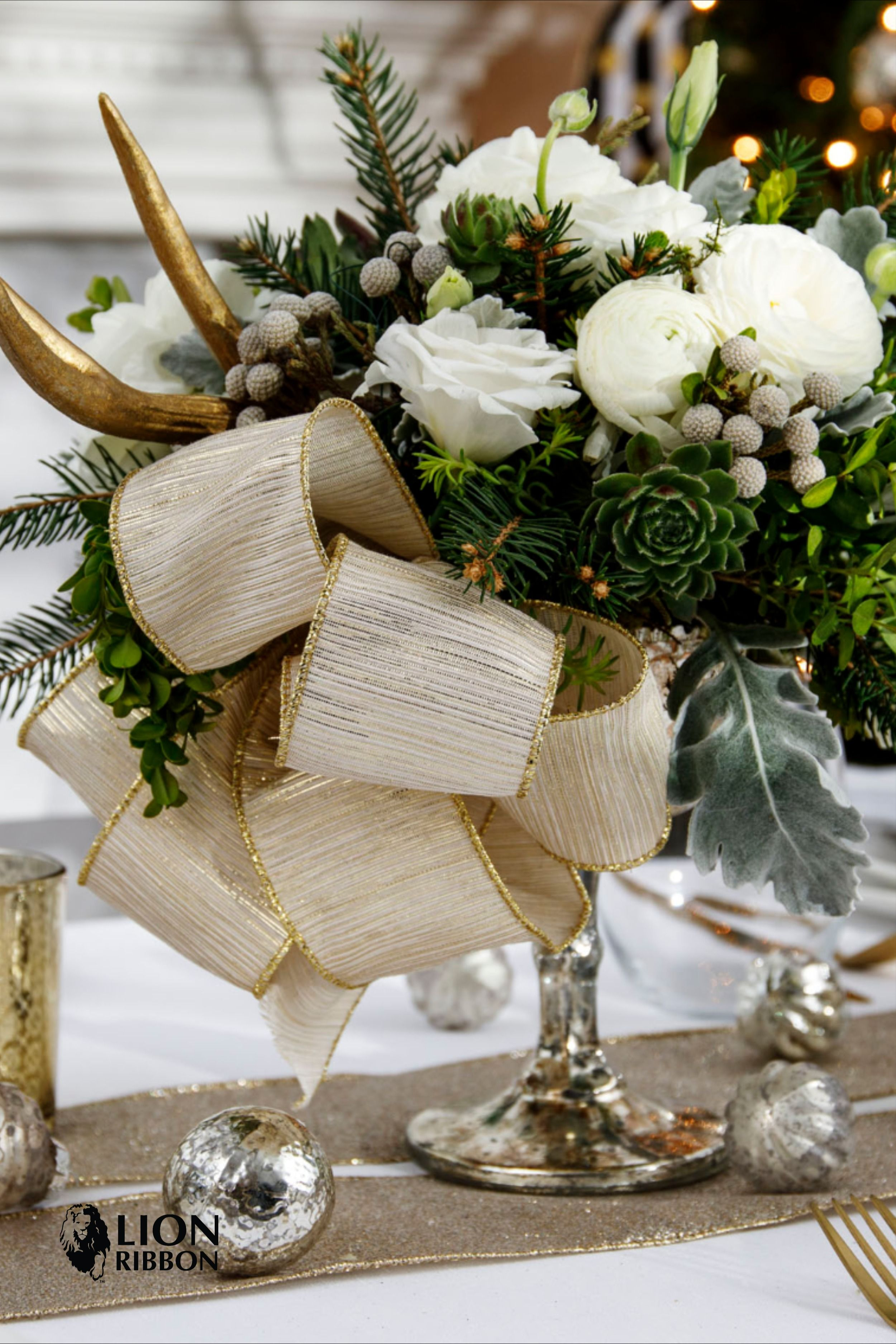 Beautiful Centerpiece Ribbon For The Holidays Holiday Table Centerpieces Holiday Centerpieces Floral Supplies