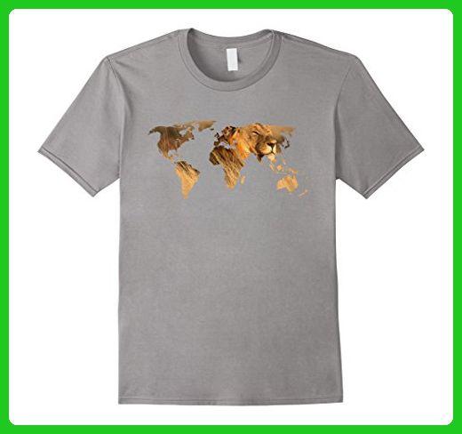 Mens light color t shirt lion world map t shirt for lion lovers mens light color t shirt lion world map t shirt for lion lovers medium slate animal shirts amazon partner link gumiabroncs Choice Image