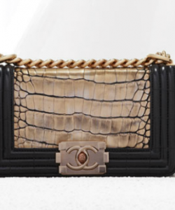 d41559eb54be Chanel Boy Bag in Alligator/croc tan color with black trim - TDF / Great  alternative to regular quilt