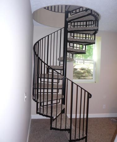 Best Custom Carpeted Spiral Staircases Carpeted Metal 400 x 300