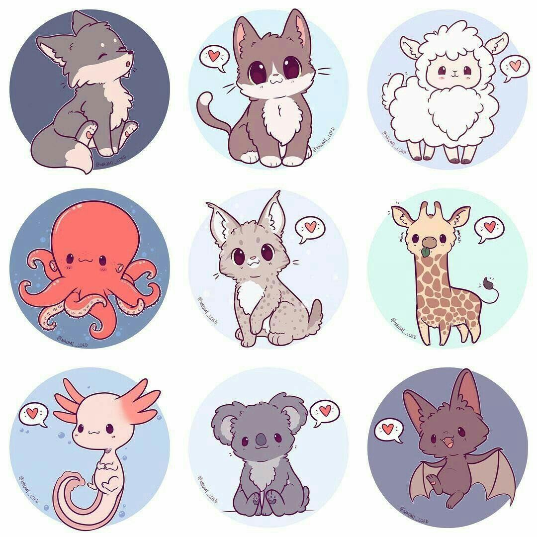 Аниме животные рисовать по картинкам