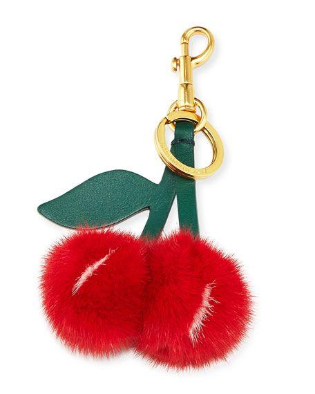 4927dd4d4a ANYA HINDMARCH Mink Fur Cherry Key Chain Bag Charm