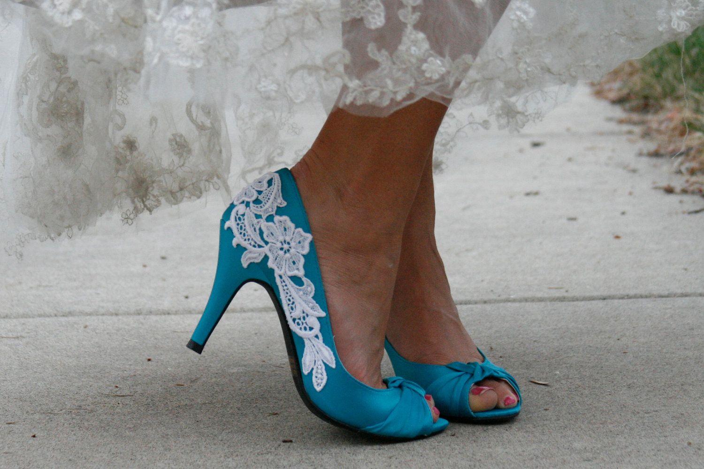 Blue heel with venise lace applique shoes pinterest lace