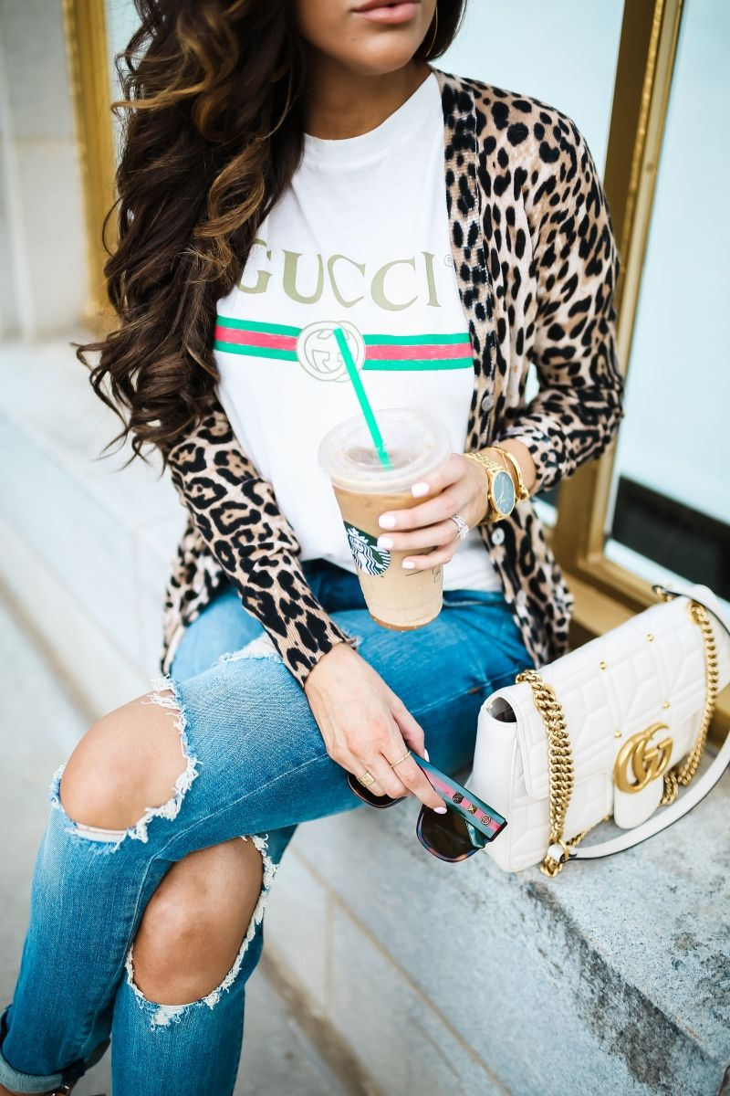 de6afa99f12 Gucci tee shirt outfit, Gucci Marmont White Medium Bag, Gucci Square  Tortoise sunglasses, cute fall fashion outfits 2017, pinterest gucci tee  outfit, ...