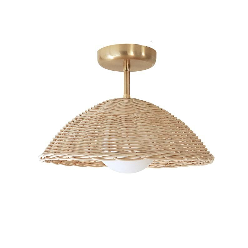 Rattan Ceiling Light Woven Pendant Lamp Flush Mount Lighting Etsy Ceiling Lights Flush Mount Lighting Pendant Lamp