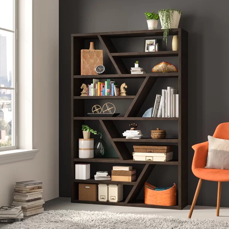 Mercury Row Swarey Geometric Bookcase Reviews Wayfair In 2020 Bookcase Cube Bookcase Shelves