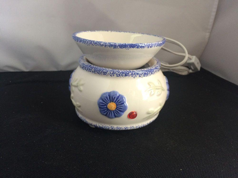 New Electric Ceramic Simmer Pot Whiteblue Flowers Diffuser Oil