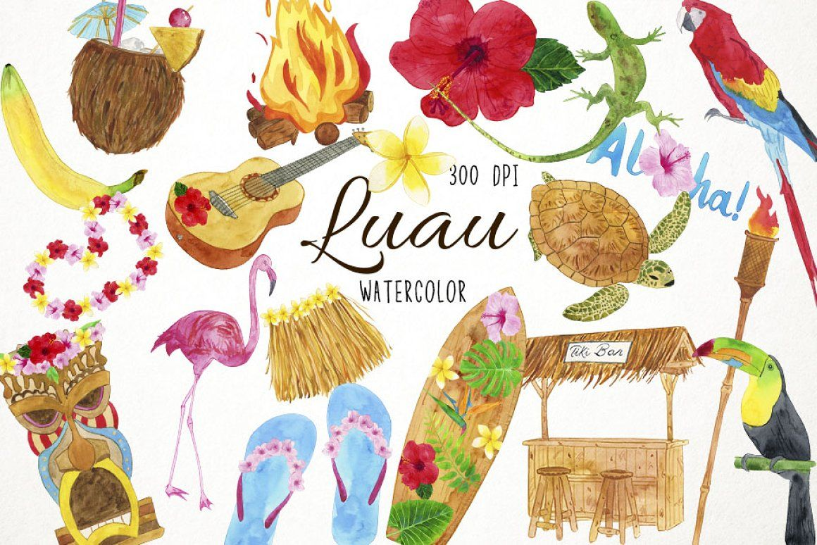small resolution of watercolor luau clipart hawaii clipart hawaiian clipart hawaiian party beach clipart tiki clipart luau party clipart hawaiian digital clipart floral clipart