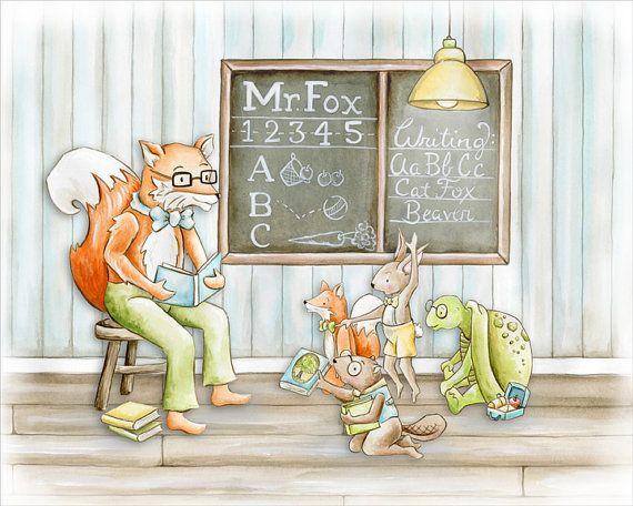Mr. Fox's Schoolhouse Children's Art Print by fischtaledesigns childrens illustrtion