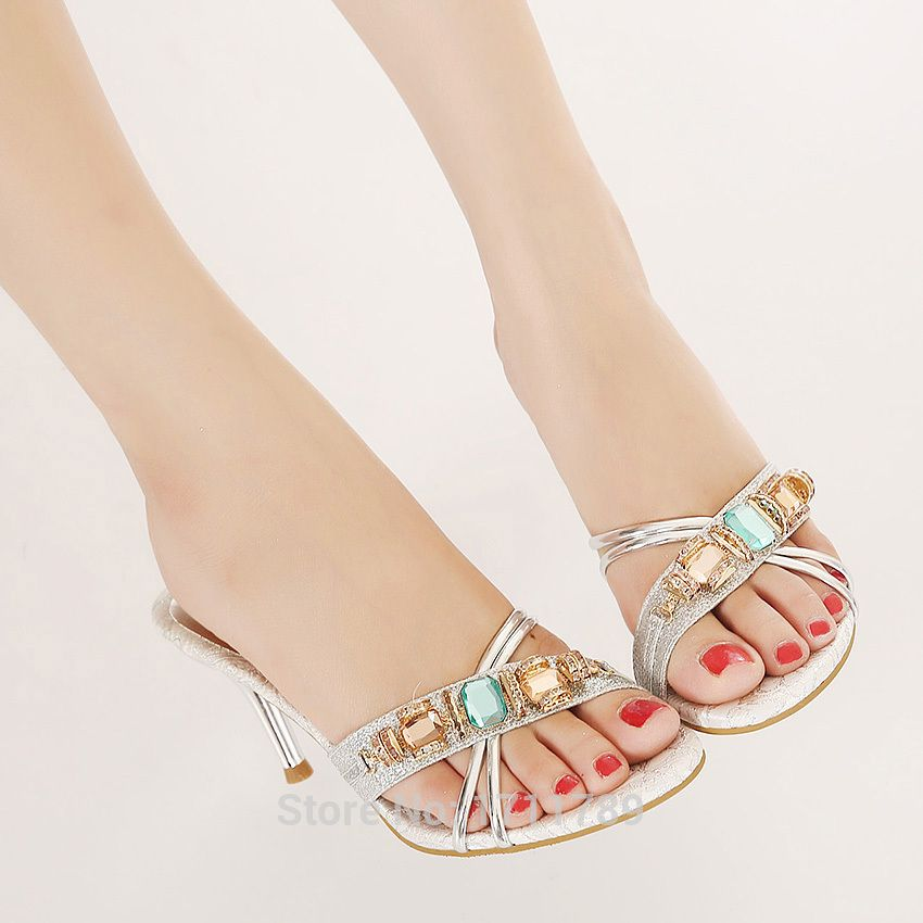 new fashion summer women shoes high heels sandals open toe thin heels slides rhinestone beading party shoes CN size 34-39 0053