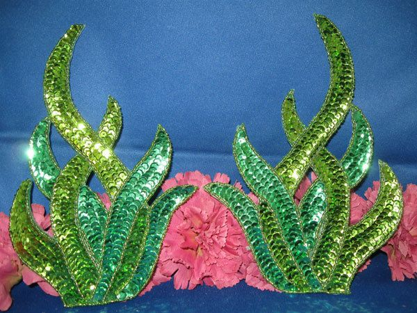 LARGE DESIGNER SEAWEED SEQUIN APPLIQUE 0333-Q