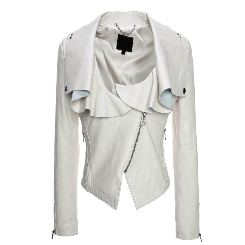 Black and white womens leather jacket – Modern fashion jacket ...