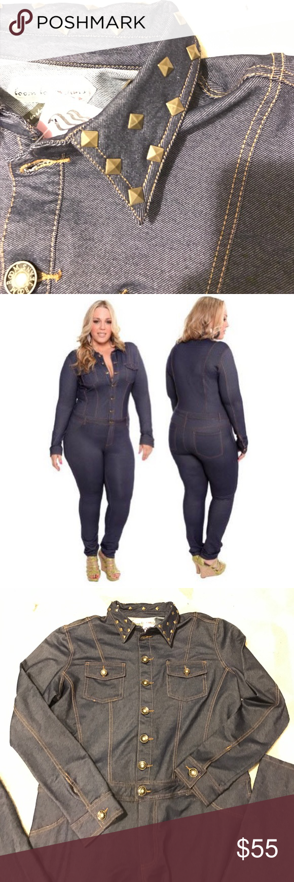 84033d6cfce Torrid denim jumpsuit w studded collar BNWT Torrid denim jumpsuit w studded  collar BNWT. Stretchy. Contract stitching. Belt loops and button zip  closure.