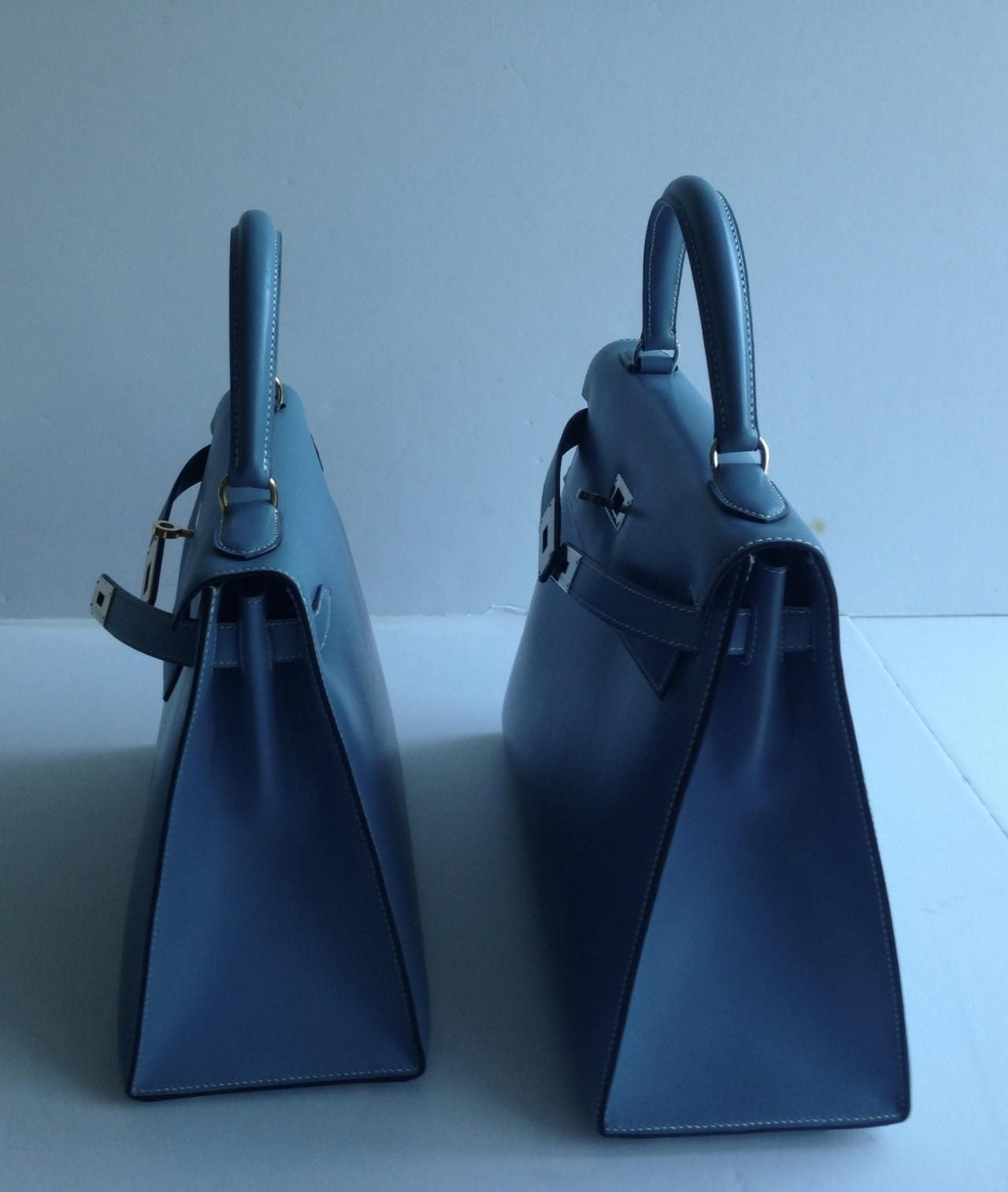 Authentic HERMES Kelly 28 cm Blue Jean Box Calf Gold Hardware Rare - Images hosted at BiggerBids.com