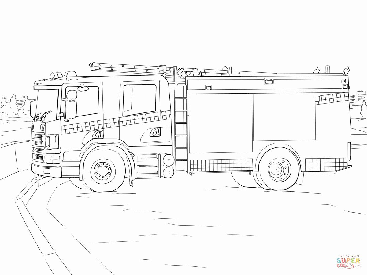 Fire Trucks Coloring Page Unique Fire Truck Coloring Page