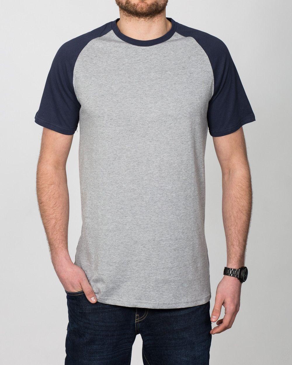 9235f87c862 2t Tall Raglan Mens Extra Long T-Shirt (grey navy)