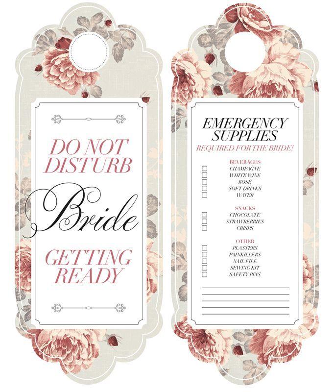 Diy Bride Door Hanger Bijoux Bride Free Printable Do Not Bride Getting Ready Free Wedding Printables Wedding Door Hangers
