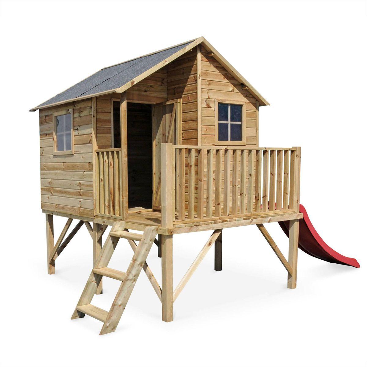 Maisonnette avec toboggan en bois FSC de 3,8m², Orchidée ...