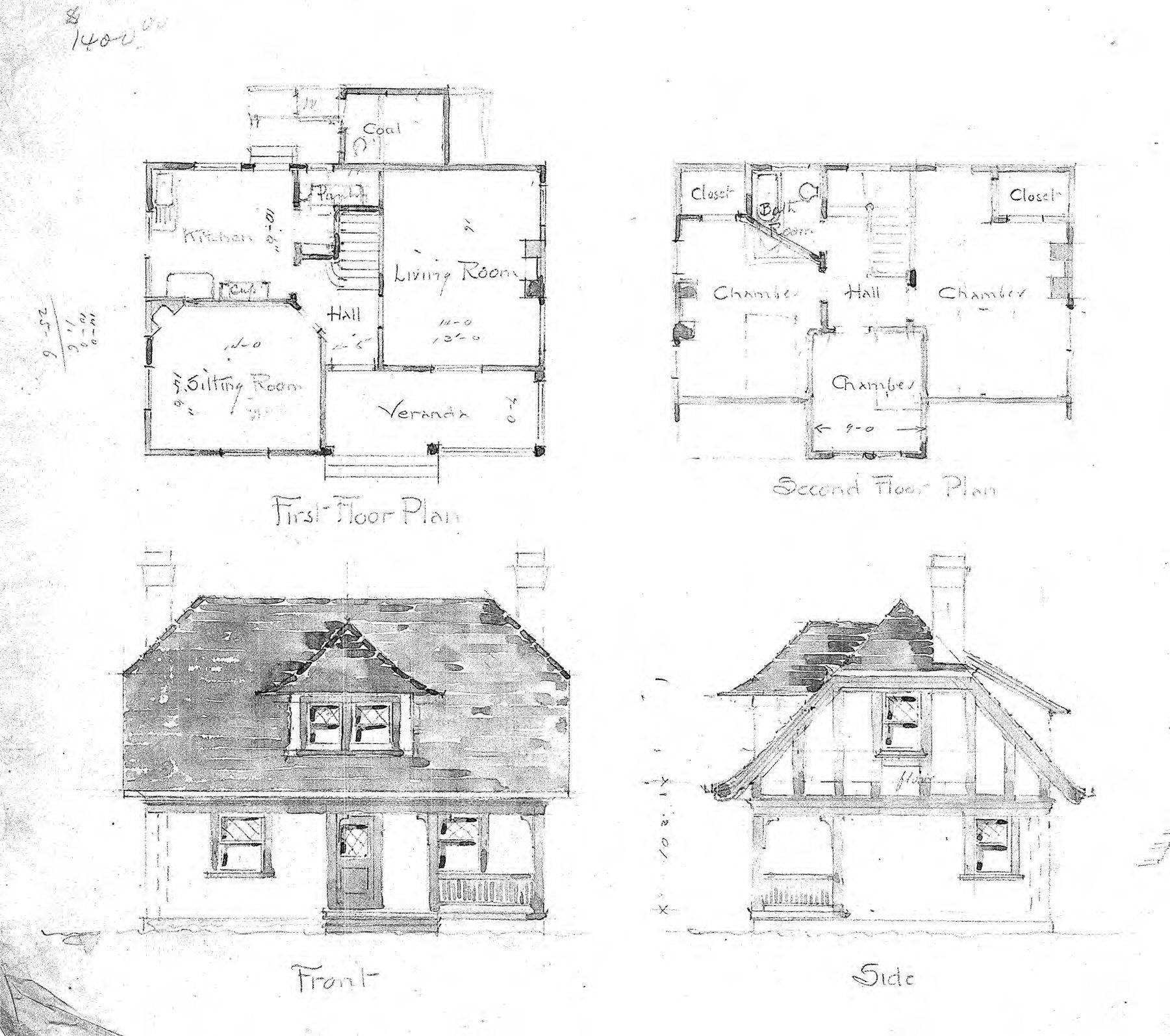 Cottage First Amp Second Floor Plan Front Amp Side Biltmore