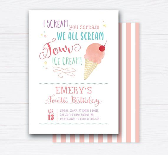 We All Scream FOUR Ice Cream, Fourth Birthday Invites, 4, Cute Ice Cream theme, Fun, Girl Birthday Party Invitations Printable or Printed #icecreambirthdayparty