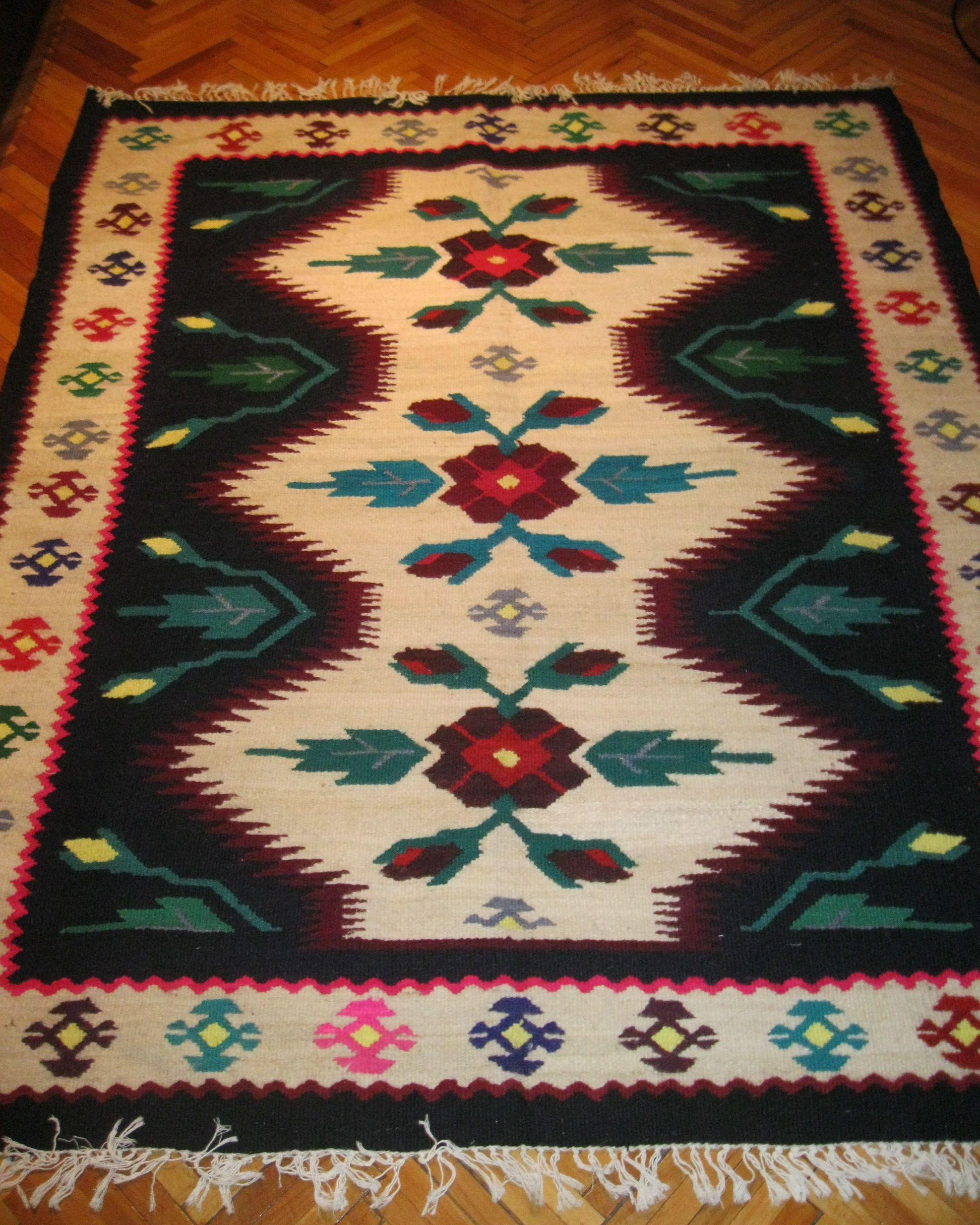 Antique Hand Woven Romanian Carpet Rug