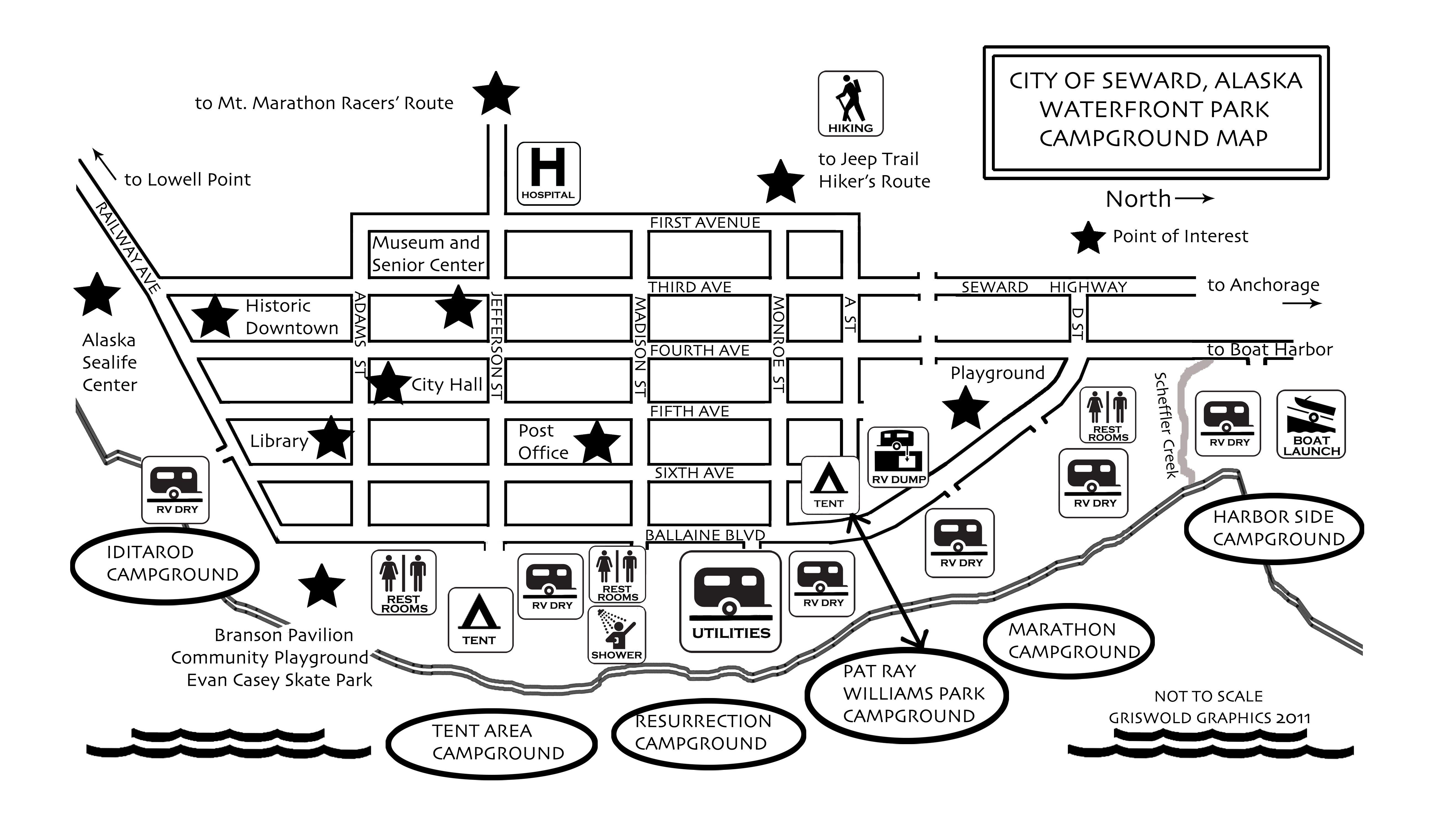 Seward Campground Map Center City Alaska Travel Jeep Trails