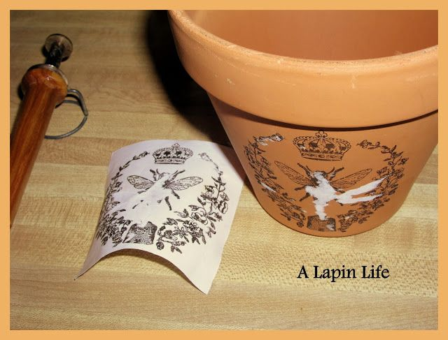 DIY How to Decorate Flower Pots using the heat tool transfer method