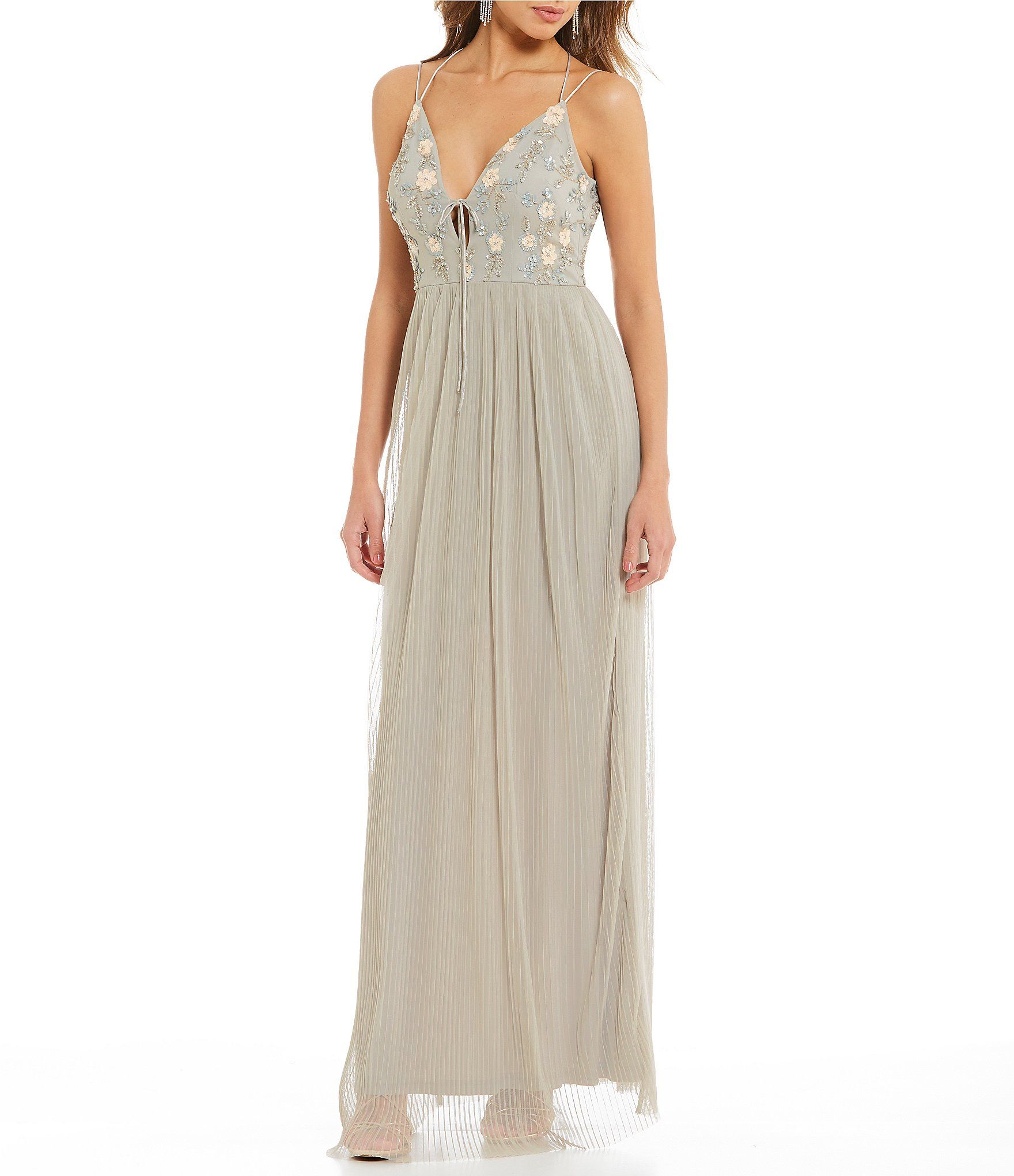Gianni Bini Cara Pleated Gown Dillards Gowns Guest Attire Bridal Gowns