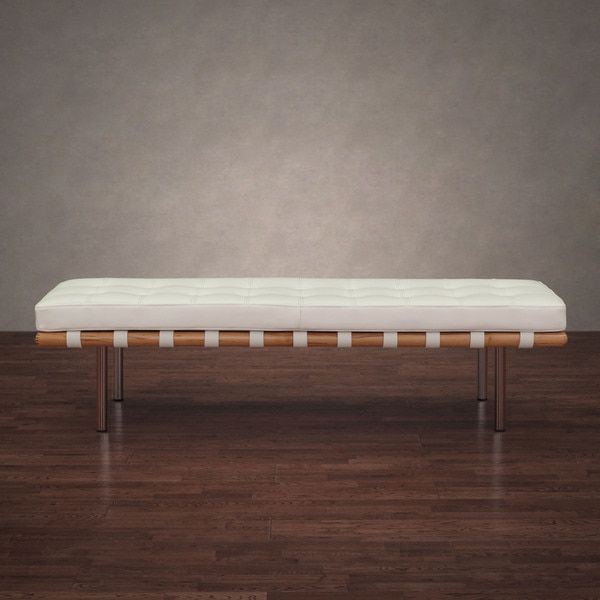 Outstanding Andalucia Modern White Leather Bench Large 60 Inch 163 N Ocoug Best Dining Table And Chair Ideas Images Ocougorg