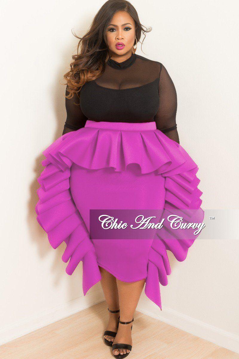 Plus Size Ruffle Dress / Skirt in Light Purple Scuba Material – Chic ...