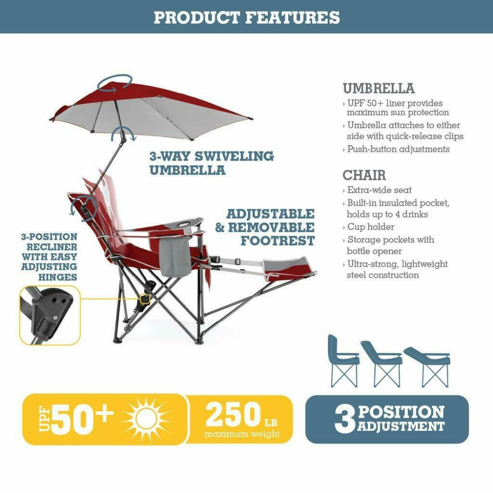 Sport Brella 3 Position Recliner Chair with Removable