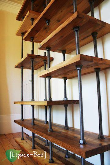 Bookshelf Wood And Rod Industrial And Rustic Etagere Bois Brut Etagere En Tuyau Deco Maison