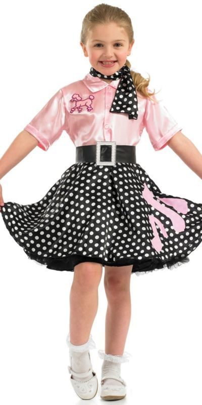 08b7aed280ab Girls Rock n Roll Costume Child 50s Poodle Hop Fancy Dress Outfit Polka  Skirt