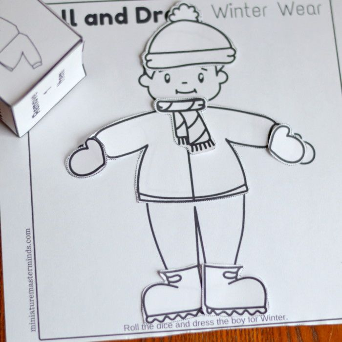 Roll And Dress Winter Wear Preschool Roll The Dice Dress Up Paper