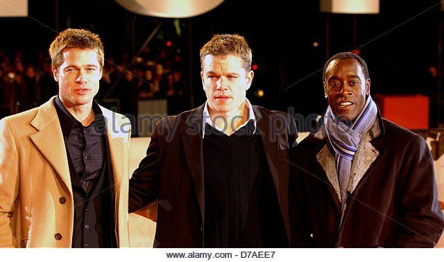 Brad Pitt, Matt Damon and Don Cheadle (l-r) at the German premiere of