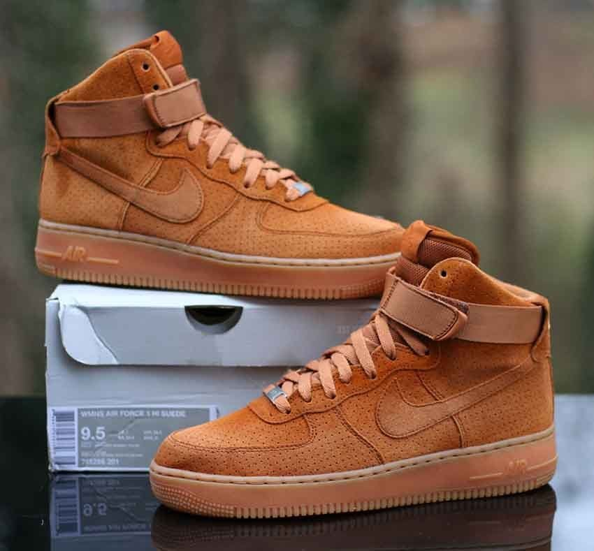 Nike Wmns Air Force 1 Hi Suede Tawny Wheat Flax Brown 749266-201 Size 9.5