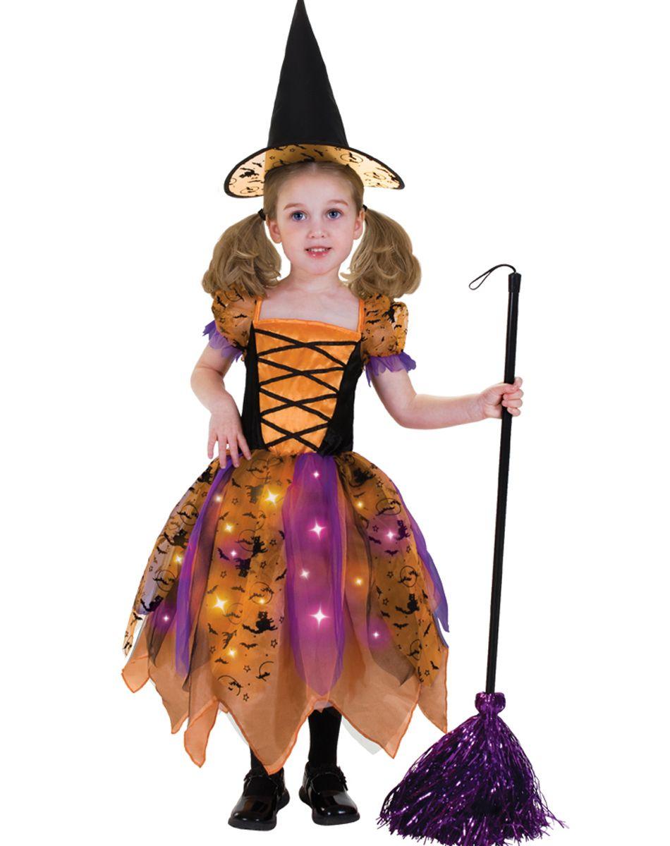 Orange and Black Pretty Witch Light-Up Child Costume | Megan ...